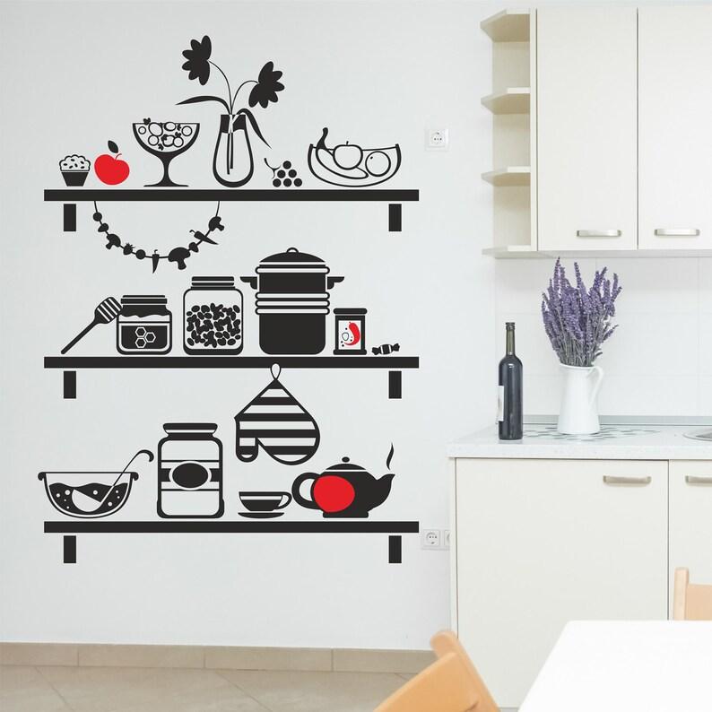 Küche Regale Wandtattoo Küche Wandtattoo Küche Geschirr | Etsy