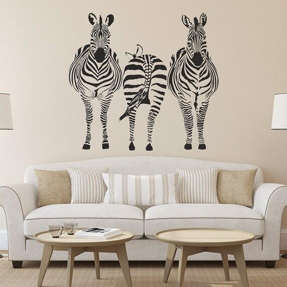 zebras wall decal wall sticker zebra wall art wall sticker | etsy