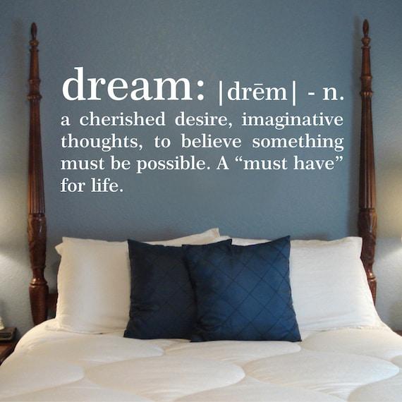 Traum-Definition-Wandtattoo Schlafzimmer Wandtattoo Traum Wand Vinyl, Worte  und Zitate Wandtattoo, Traum-Wand-Kunst, Definition Wandkunst, 178