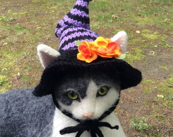 Witch hat, witch cat hat, Halloween, Halloween hat, pet costumes, cat costumes, animal photo prop, Halloween costumes, cat hats, cat hat