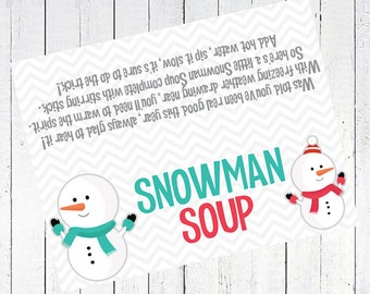 image relating to Free Printable Snowman Soup Labels referred to as Snowman soup printable Etsy SG