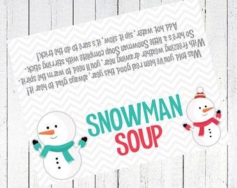 graphic regarding Free Printable Snowman Soup Labels known as Snowman soup printable Etsy SG
