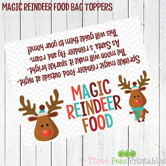 Magic Reindeer Food Bag Topper Printable Digital Christmas Etsy