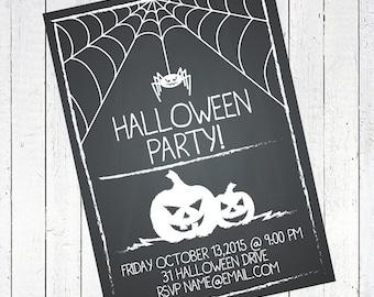 halloween party invitation chalk pumpkins web spider - Chalk Halloween Party Invitation