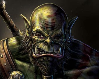 Orc World Warcraft inspired portrait print 420 x 594mm A3 size (11.7 x 16.5 in) WoW fantasy art SFF gaming. Video game portrait