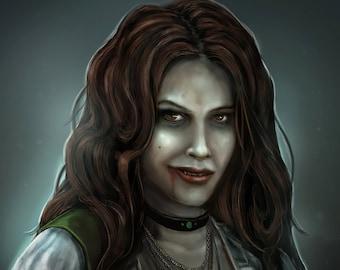 Vampiress print: Fantasy horror art decoration, goth, emo, dark