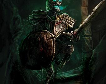 Epic Fantasy art print: original illustration- Undead Skeleton Warrior on thick frosted card A4 size SFF independent artist
