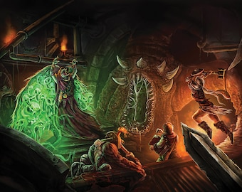 Epic Fantasy art print: original illustration- Dungeon Crawl Huge A1 size. Dungeons and Dragons, signed if requested
