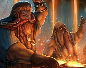 Epic Fantasy art print: original illustration- The Dwarven Blacksmiths A3 size thick paper print. SFF, signed if requested.