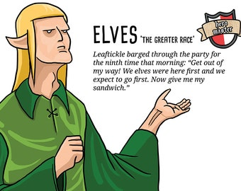 Elves themed A3 humorous fantasy geek poster. From Hero Master. For tabletop gamers and RPG players, geeks and nerds alike!