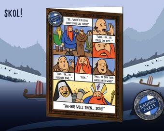 Birthday card viking humor. Nerd, Geek, fantasy, history, norse, vikings, berserker, ragnar, lagertha, bjorn, funny, raiding party, greeting