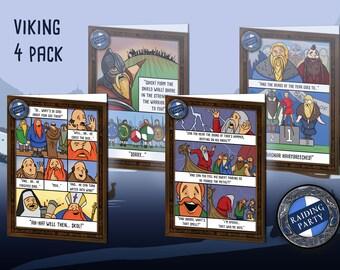 Birthday card viking humor 4 pack. Nerd, Geek, fantasy, history, norse, vikings, berserker, ragnar, funny, raiding party, greeting