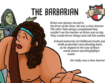 Barbarian themed A3 humorous fantasy geek poster. From Hero Master. For tabletop gamers and RPG players, geeks and nerds alike!