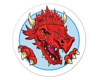 Dragon stickers set of 30, self adhesive red dragon stickers, fun for kids and adults, fantasy, monster sticker