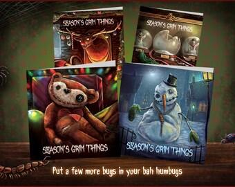 Christmas greetings cards. Creepy pack of 4 designs, Christmas card, alternative Christmas card, xmas card, spooky card, Seasons Grim Things