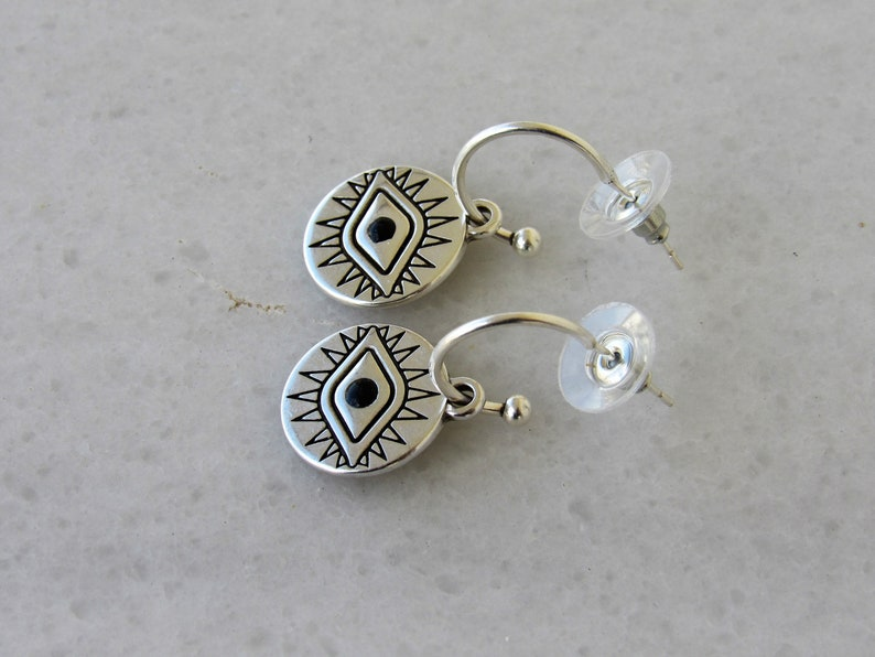 Minimalist Disc Earrings Silver Hoop Earrings with Coin Evil Eye Charm Circle Coin Pendant Everyday Jewelry