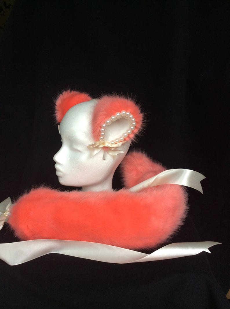 Luxury Peaches and Cream Kitten Play Set Tail & Ears image 0
