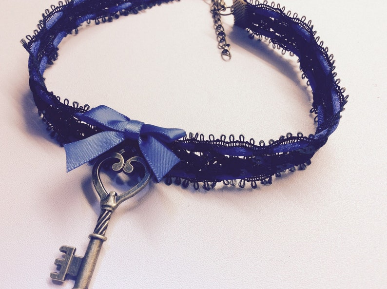 Cute black and blue choker collar with key pendant Kitten  play.