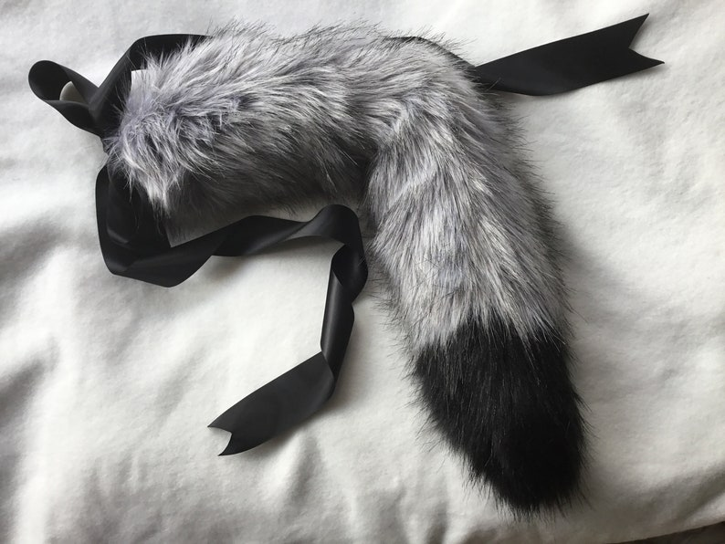 Pre Made Ready To Ship Kitten/ wolf Play Faux Fur Tail BDSM image 0