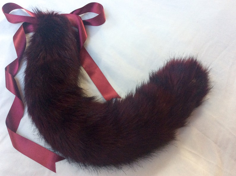Luxury 29 Inch Burgundy Wine Kitten Wolf Play Faux Fur Tail BDSM
