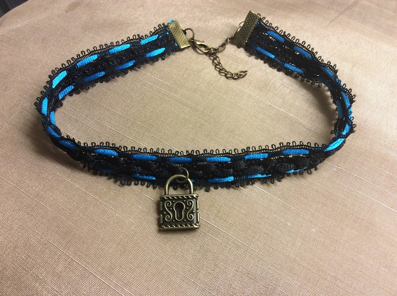 Cute black and aqua blue sequinned  choker collar  with lock image 0