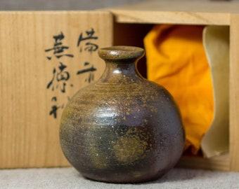 Ichirinzashi - single flower vase with, Bizen ware, with wooden box - vintage handmade *2626