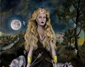 Art print on paper, Artemis with arrow