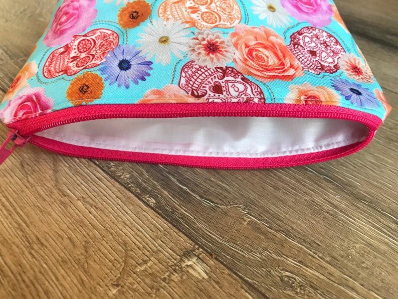 weekend bag Skull flower pencil case skull flower bag wash bag teacher gift reuseable wipes colourful bag make up bag set