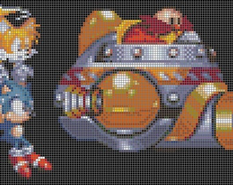Sonic and Tails Chasing Dr. Robotnik Cross Stitch Pattern
