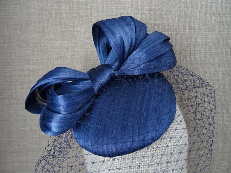 cfe93ac35297b Navy blue cocktail hat, Silk Abaca pillbox hat, vintage inspired wedding  headpiece, birdcage veil, christening hat - SA82