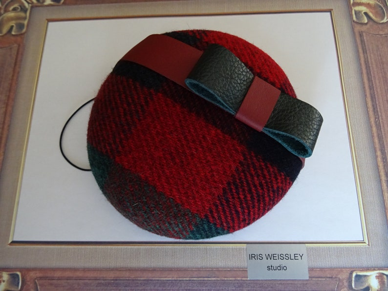 modern cocktail hat Harris tweed wool fascinator with genuine leather bow HT49 Red and green pillbox hat