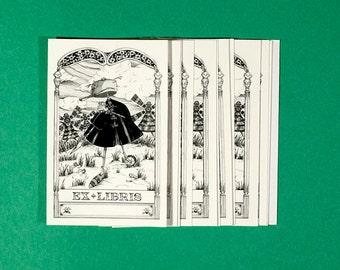 """Ex sticker Libris, Bookplate self-adhesive, """"Don Quixote"""""""