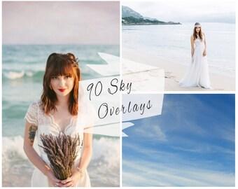 90 Sky Photoshop Overlays, Sky Overlays, Sunset, Pastel Sky, Blue Sky Overlays, Sky Backdrop, Digital Backdrop, Instant Download