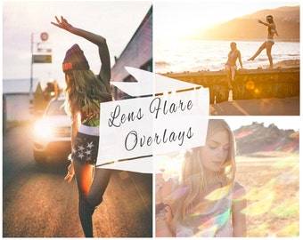 97 Lens Flare Photoshop Overlays, Sunlight, Overlays, Sun Flare, Portrait Overlays, Retro, Vintage, Instant Download