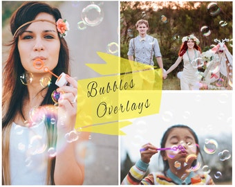 Blowing Bubbles Photoshop Overlays, Soap Bubbles Overlay, Digital Backdrop, Photoshop Overlays, Portrait Overlays