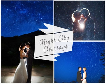 100 Night Sky Photoshop Overlays, Moon Stars Overlays, Digital Backdrop, Overlay, Night Skies, Wedding Overlays, Instant Download