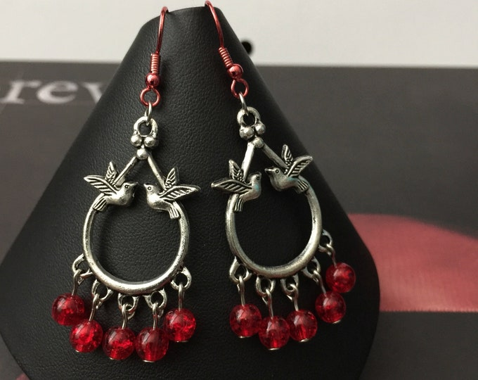 Featured listing image: Love Bird Earrings - Passion and Love Earrings with Blood Red Glass Beads with Matching Red Ear Wires - Made with Love In Mind