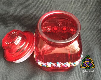 Decorated Red Painted Jar with Lid - Trinket Jar with Lid and Sparkling Embellishments - Recycled Jar with Decorations - Red Jar with Lid