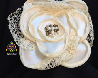 Ivory Colored Victorian Style Hair Barrette - Barrette with Flower Design and Lace - Hair Accessory - Victorian Style Hair Clasp