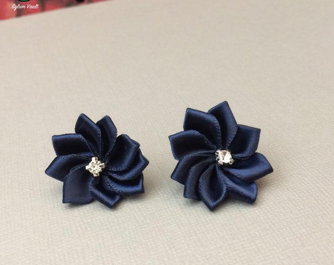 Featured listing image: Dark Blue Silk Ribbon Flower Earrings - Rosette Earrings with Rhinestone - Silk Flower Stud Earrings