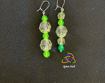 Mismatch Style Green Earrings - Bright Green Earrings - Durable Earrings - Lightweight Acrylic Bead Earrings - Mismatched Pair of Earrings