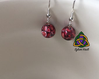 Red Stone Earrings - Simple Drop Earrings with Reconstituted Stone Ball - Red Earrings with Silver Wires - Stone Ball Earrings