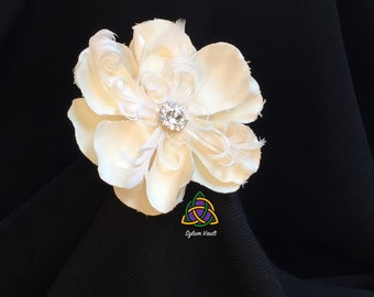 Flower and Feather Hair Barrette with Rhinestones - Cloth Flower and White Feather Hair Accessory - Creme Colored Flower Shape Hair Pin