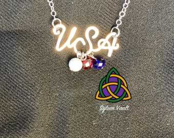 Go Team USA Necklace - God Bless America Necklace - USA Necklace with Red White and Blue Beads - Patriotic Necklace Design with Beads