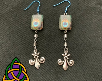 Long Length Drop Earrings with Peacock Feather Design and Fleur-de-Lis Charm - Stone and Pewter Long Drop Earrings with Blue Wires