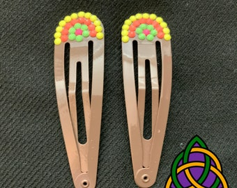 Hair Accessories with Unique Dot Bead Design - Pair of Hair Barrettes with Neon Flower Design - Long Hair Slides - Hand Decorated Hair Grips