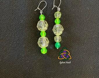 Mismatch Style Green Earrings - Bright Green Earrings - Durable Earrings - Lightweight Acrylic Bead Earrings - Mismatched Pair of Earrings