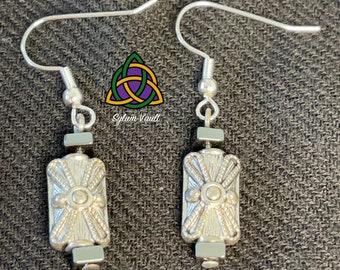 Roman Shield Earrings - Shield Shape Earring Design - History Lovers Earrings -  Shield Design Bead Earrings - Metal Bead Earrings