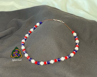 White, Red and Blue Necklace - Red White Blue Bead Necklace - Patriotic Colored Necklace - Flag Colors Necklace - Beads on Wire Necklace