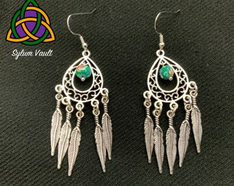 Feather Drop Earrings - Long Length Dangle Earrings with Feathers - Feather Earring Chandeliers - Feather Dangle Earrings - Long Earrings